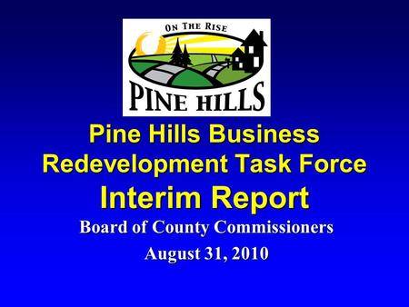 Pine Hills Business Redevelopment Task Force Interim Report Board of County Commissioners August 31, 2010.