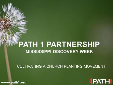 CULTIVATING A CHURCH PLANTING MOVEMENT PATH 1 PARTNERSHIP MISSISSIPPI DISCOVERY WEEK.