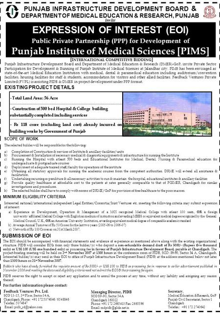 PUNJAB INFRASTRUCTURE DEVELOPMENT BOARD & DEPARTMENT OF MEDICAL EDUCATION & RESEARCH, PUNJAB EXPRESSION OF INTEREST (EOI) Public Private Partnership (PPP)