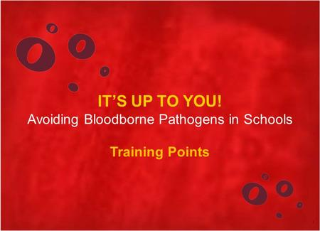 IT'S UP TO YOU! Avoiding Bloodborne Pathogens in Schools Training Points 1.