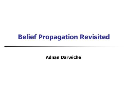 Belief Propagation Revisited Adnan Darwiche. Graphical Models Battery Age Alternator Fan Belt Battery Charge Delivered Battery Power Starter Radio LightsEngine.