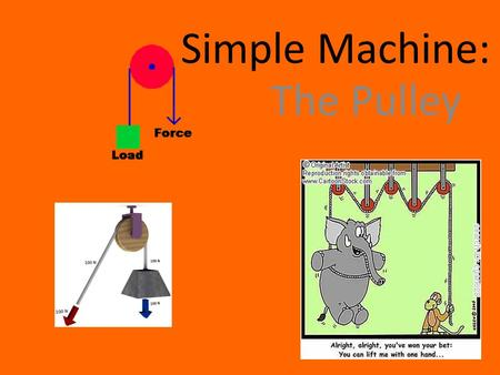 Simple Machine: The Pulley. Simple Machine Part of Lever Family made with a rope, belt or chain wrapped around a wheel. member of lever family a modified.
