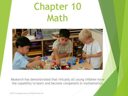 Chapter 10 Math Research has demonstrated that virtually all young children have the capability to learn and become competent in mathematics. ©2015 Cengage.