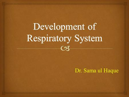 Dr. Sama ul Haque.   Discuss the formation of the lung buds.  Describe the development of larynx.  Explain the mechanism of formation of trachea,