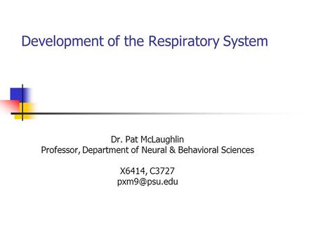 Development of the Respiratory System Dr. Pat McLaughlin Professor, Department of Neural & Behavioral Sciences X6414, C3727