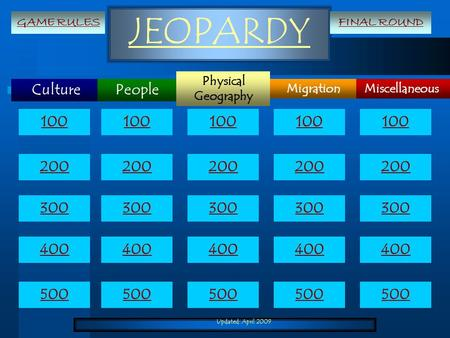 Updated: April 2009 JEOPARDY Culture Miscellaneous Physical Geography Migration People 100 200 300 400 500 100 200 300 400 500 GAME RULESFINAL ROUND.