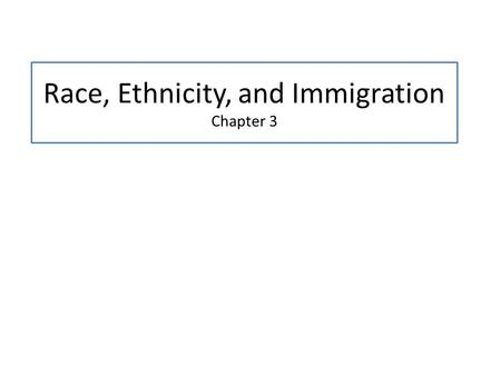 Race, Ethnicity, and Immigration Chapter 3. Lecture Outline I. Defining Race and Ethnicity II. American Stories of Inequality, Diversity, and Social Change.