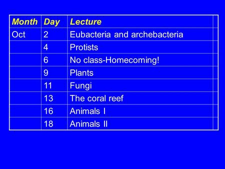 MonthDayLecture Oct2Eubacteria and archebacteria 4Protists 6No class-Homecoming! 9Plants 11Fungi 13The coral reef 16Animals I 18Animals II.
