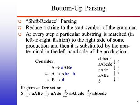 "1 Bottom-Up Parsing  ""Shift-Reduce"" Parsing  Reduce a string to the start symbol of the grammar.  At every step a particular substring is matched (in."