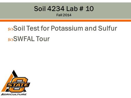  Soil Test for Potassium and Sulfur  SWFAL Tour Soil 4234 Lab # 10 Fall 2014.