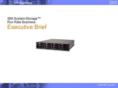 IBM TotalStorage © 2005 IBM Corporation IBM System Storage™ Run Rate Business Executive Brief.