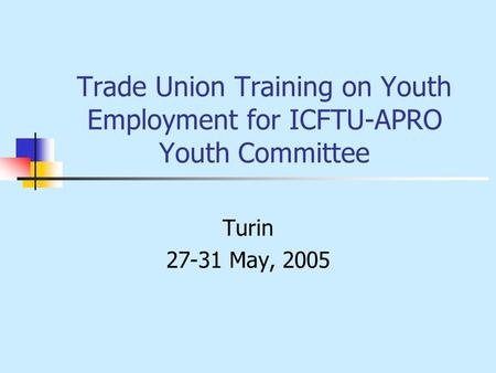 Trade Union Training on Youth Employment for ICFTU-APRO Youth Committee Turin 27-31 May, 2005.