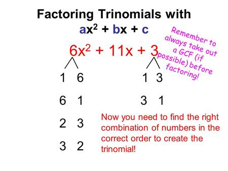 Factoring Trinomials with ax 2 + bx + c 6x 2 + 11x + 3 1 6 1 3 6 1 3 1 2 3 3 2 Now you need to find the right combination of numbers in the correct order.