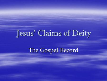 "Jesus' Claims of Deity The Gospel Record. ""At this gathering [the Council of Nicaea],"" Teabing said, ""many aspects of Christianity were debated and voted."