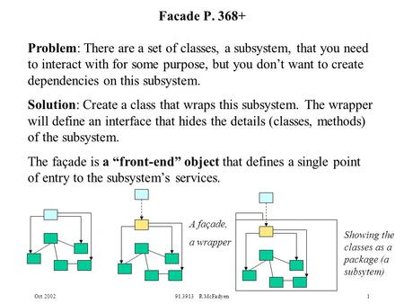 Oct 200291.3913 R McFadyen1 Facade P. 368+ Problem: There are a set of classes, a subsystem, that you need to interact with for some purpose, but you don't.
