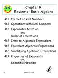 RMath 120 - KM1 Chapter R: Review of Basic Algebra R.1 The Set of Real Numbers R.2 Operations with Real Numbers R.3 Exponential Notation and Order of Operations.