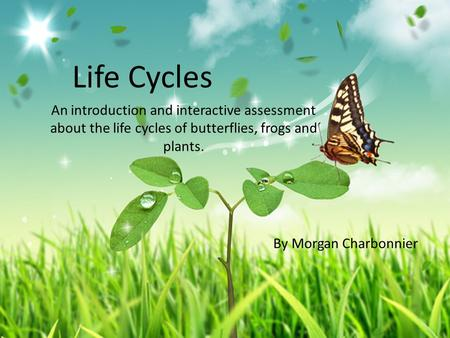 Life Cycles An introduction and interactive assessment about the life cycles of butterflies, frogs and plants. By Morgan Charbonnier.