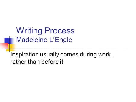 Writing Process Madeleine L'Engle Inspiration usually comes during work, rather than before it.