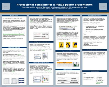 Professional Template for a 40x32 poster presentation