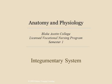 © 2009 Delmar, Cengage Learning Anatomy and Physiology Blake Austin College Licensed Vocational Nursing Program Semester 1 Integumentary System.