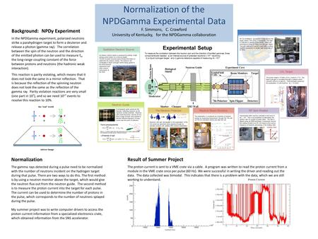 Normalization of the NPDGamma Experimental Data F. Simmons, C. Crawford University of Kentucky, for the NPDGamma collaboration Background: NPDγ Experiment.