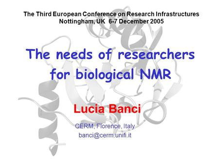 The needs of researchers for biological NMR The Third European Conference on Research Infrastructures Nottingham, UK 6-7 December 2005 CERM, Florence,