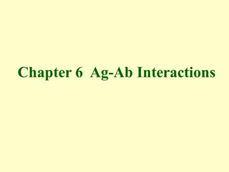 Chapter 6 Ag-Ab Interactions. Nature of the Ag-Ab interaction Immunological assays.