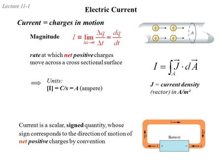 Lecture 11-1 Electric Current Current = charges in motion Magnitude rate at which net positive charges move across a cross sectional surface Units: [I]