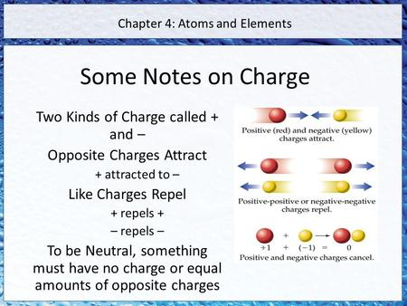Some Notes on Charge Two Kinds of Charge called + and – Opposite Charges Attract + attracted to – Like Charges Repel + repels + – repels – To be Neutral,