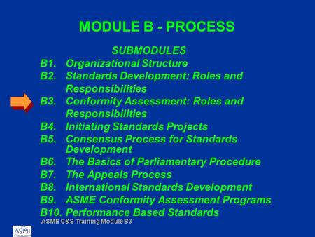 ASME C&S Training Module B3 MODULE B - PROCESS SUBMODULES B1.Organizational Structure B2.Standards Development: Roles and Responsibilities B3.Conformity.