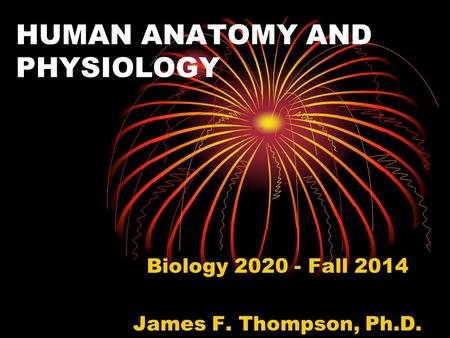 HUMAN ANATOMY AND PHYSIOLOGY Biology 2020 - Fall 2014 James F. Thompson, Ph.D.