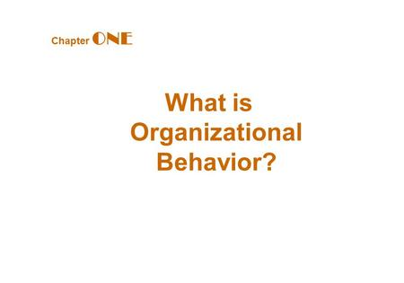 Chapter ONE What is Organizational Behavior?. What Managers Do Managerial Activities Make decisions Allocate resources Direct activities of others to.
