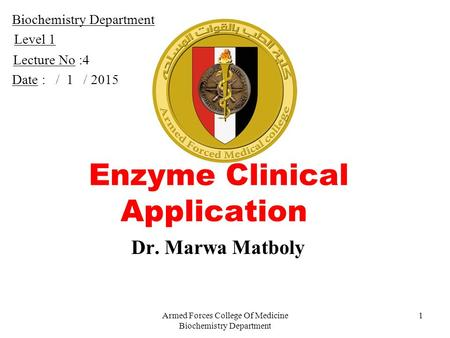 Enzyme Clinical Application
