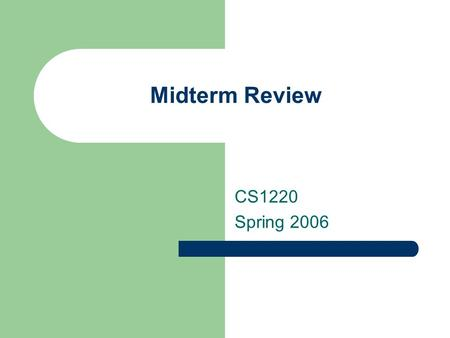 Midterm Review CS1220 Spring 2006. Disclaimer The following questions are representative of those that will appear on the midterm exam. They do not represent.
