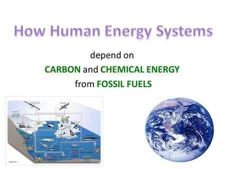 Depend on CARBON and CHEMICAL ENERGY from FOSSIL FUELS.