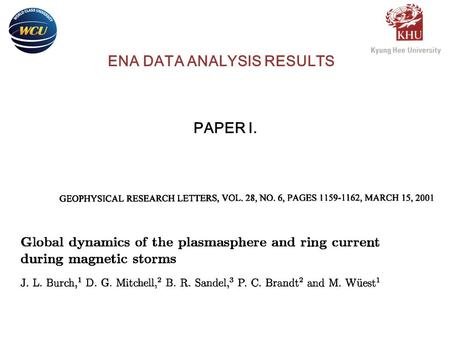 PAPER I. ENA DATA ANALYSIS RESULTS. The Imager for Magnetopause-to- Aurora Global Exploration (IMAGE) missionis the first NASA Mid-size Explorer (MIDEX)