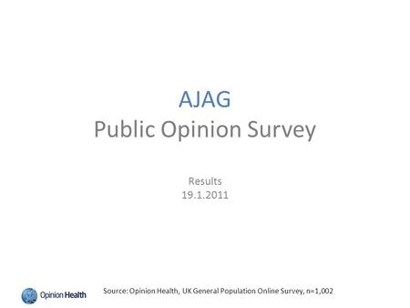 AJAG Public Opinion Survey Results 19.1.2011 Source: Opinion Health, UK General Population Online Survey, n=1,002.