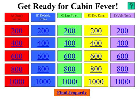 Get Ready for Cabin Fever! 200 400 600 800 1000 200 400 600 800 1000 200 400 600 800 1000 200 400 600 800 1000 200 400 600 800 1000 A) Greg's Journal B)