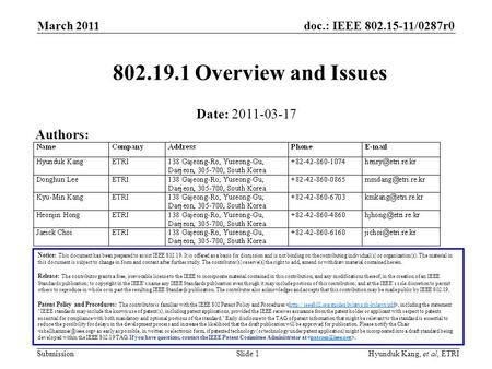 Doc.: IEEE 802.15-11/0287r0 Submission March 2011 Slide 1Hyunduk Kang, et al, ETRI 802.19.1 Overview and Issues Notice: This document has been prepared.