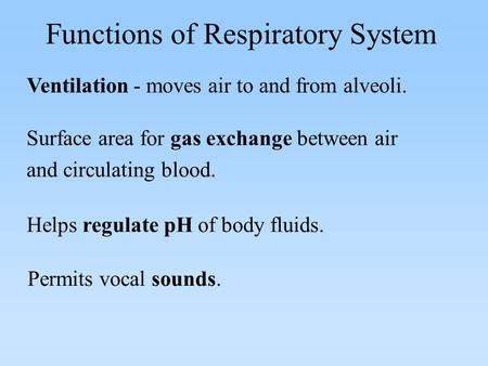 Ventilation - moves air to and from alveoli. Functions of Respiratory System Surface area for gas exchange between air and circulating blood. Helps regulate.
