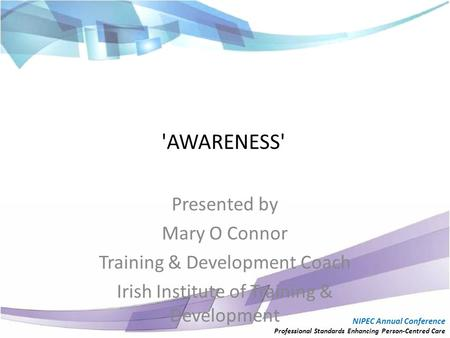 'AWARENESS' Presented by Mary O Connor Training & Development Coach Irish Institute of Training & Development NIPEC Annual Conference Professional Standards.