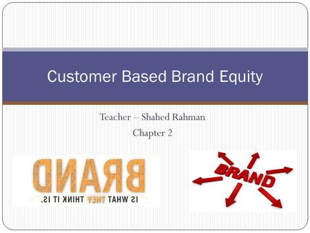 Teacher – Shahed Rahman Chapter 2 Customer Based Brand Equity.