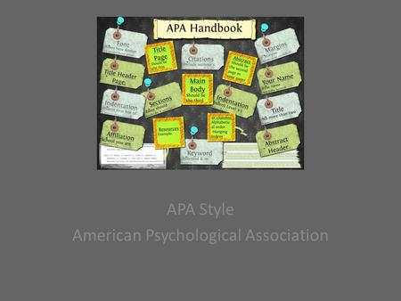 APA Style American Psychological Association. Where can you find information about APA format?  Libraries/Bookstore  Writing Style Manual  Purdue Owl.