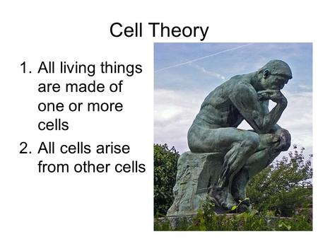 Cell Theory 1.All living things are made of one or more cells 2.All cells arise from other cells.