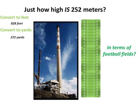 Just how high IS 252 meters? Convert to feet 828 feet Convert to yards 272 yards In terms of football fields?