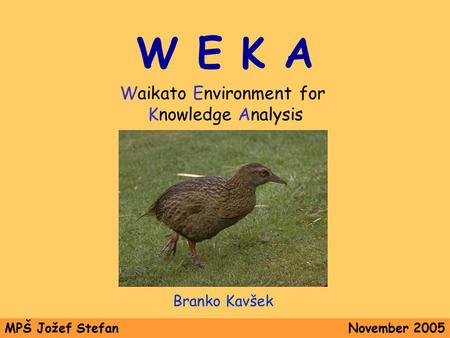 W E K A Waikato Environment for Knowledge Analysis Branko Kavšek MPŠ Jožef StefanNovember 2005.