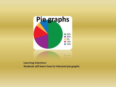 Pie graphs Learning intention: Students will learn how to interpret pie graphs.