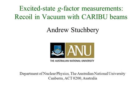 Andrew Stuchbery Department of Nuclear Physics, The Australian National University Canberra, ACT 0200, Australia Excited-state g-factor measurements: Recoil.