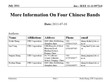 Submission doc.: IEEE 11-11/0972r0 Dezhi Zhang, ZTE CorporationSlide 1 More Information On Four Chinese Bands Date: 2011-07-10 Authors: July 2011.