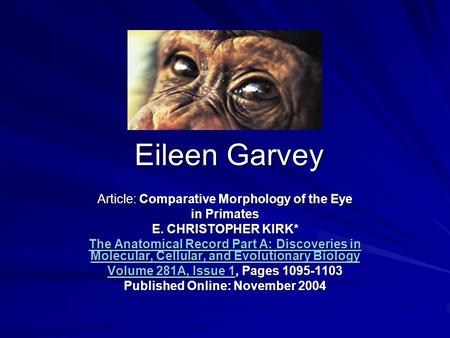 Eileen Garvey Article: Comparative Morphology of the Eye in Primates E. CHRISTOPHER KIRK* The Anatomical Record Part A: Discoveries in Molecular, Cellular,